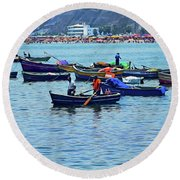 Round Beach Towel featuring the photograph The Fishermen - Miraflores, Peru by Mary Machare