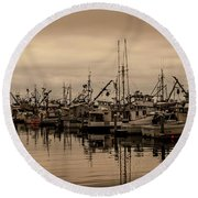The Fishing Fleet Round Beach Towel by Tony Locke