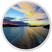 The Fjords Of Kristansand, Norway At Sunset Round Beach Towel by Allan Levin