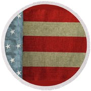 Round Beach Towel featuring the photograph The Flag by Tom Prendergast