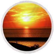 The Flame Round Beach Towel by David Stasiak