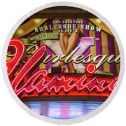 Round Beach Towel featuring the photograph The Flamingo Burlesque Sign by Aloha Art