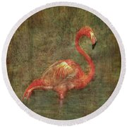 Round Beach Towel featuring the photograph The Flamingo by Hanny Heim