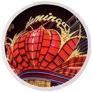 Round Beach Towel featuring the photograph The Flamingo Neon Sign Wide by Aloha Art