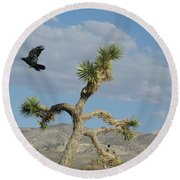 Round Beach Towel featuring the photograph The Flight Of Raven. Lucerne Valley. by Ausra Huntington nee Paulauskaite