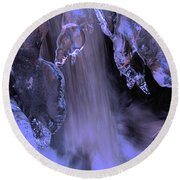 Round Beach Towel featuring the photograph The Flow Of Winter-2 by Sean Sarsfield