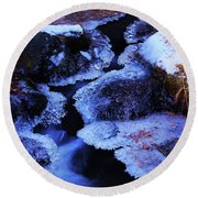 The Flow Of Winter Round Beach Towel