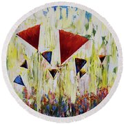 The Flower Party Round Beach Towel
