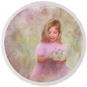 Round Beach Towel featuring the mixed media The Flower Princess by Colleen Taylor