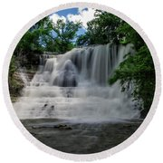 The Flowing Falls Round Beach Towel by Shelly Gunderson