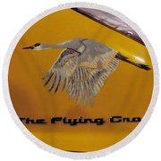 The Flying Crane Round Beach Towel