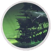 Round Beach Towel featuring the painting The Flying Dutchman by Tithi Luadthong