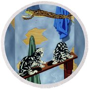 The Flying Frog Round Beach Towel