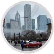 The Fog Lifts On Michigan Avenue Round Beach Towel