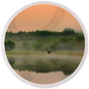 The Fog Of Summer Round Beach Towel by Elizabeth Winter