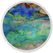 The Fog Rolls In Round Beach Towel by Kim Nelson