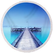 The Foggy Morning Round Beach Towel