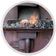 Round Beach Towel featuring the photograph The Forge by Linda Lees