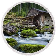 The Forgotten Mill Round Beach Towel by JR Photography