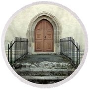 The Fortress Church's Side Door  Round Beach Towel