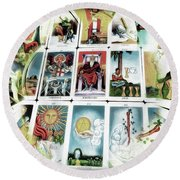 The Fortune Teller Round Beach Towel by Pennie  McCracken