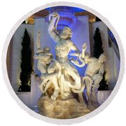 The Forum Shop Statues At Ceasars Palace Round Beach Towel