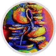 The Fountain Of Pots Round Beach Towel
