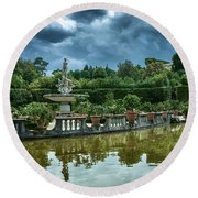 The Fountain Of The Ocean At The Boboli Gardens Round Beach Towel