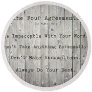 The Four Agreements 12 Round Beach Towel