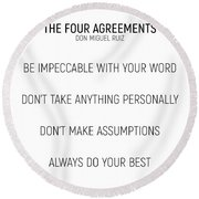 The Four Agreements #minismalism #shortversion Round Beach Towel