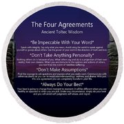 The Four Agreements Poster Round Beach Towel