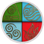 The Four Elements Round Beach Towel