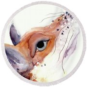 Round Beach Towel featuring the painting The Fox by Dawn Derman