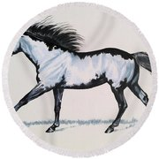 The Framed American Paint Horse Round Beach Towel by Cheryl Poland
