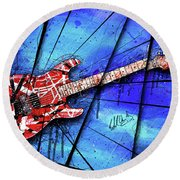 The Frankenstrat On Blue I Round Beach Towel