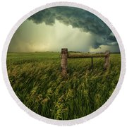 Round Beach Towel featuring the photograph The Frayed Ends Of Sanity  by Aaron J Groen