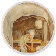Round Beach Towel featuring the painting The French Baker by Vicki  Housel