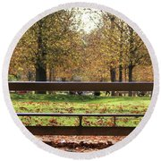 Round Beach Towel featuring the photograph The French Bench And The Autumn by Yoel Koskas
