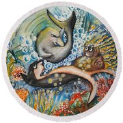 Friends 2 Round Beach Towel by Rita Fetisov