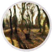 The Frightening Forest Round Beach Towel by Gun Legler