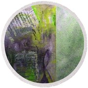 Round Beach Towel featuring the painting The Gallery Hall by Lisa Kaiser