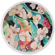 The Gallery Of Orchids 1 Round Beach Towel by Esther Newman-Cohen