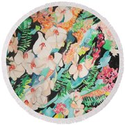 The Gallery Of Orchids 2 Round Beach Towel by Esther Newman-Cohen