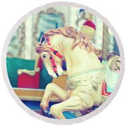 The Galloper - Paris Carousel Print Round Beach Towel by Melanie Alexandra Price