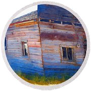 Round Beach Towel featuring the photograph The Garage by Susan Kinney