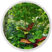 Round Beach Towel featuring the photograph The Garden by Kathy Baccari
