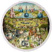 The Garden Of Earthly Delights 1490-1510 By Hieronymus Bosch Round Beach Towel