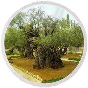 The Garden Of Gethsemane Round Beach Towel