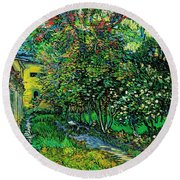 Round Beach Towel featuring the painting The Garden Of The Asylum At Saint-remy by Vincent van Gogh