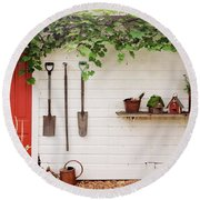 Round Beach Towel featuring the photograph The Garden Wall by Heidi Hermes